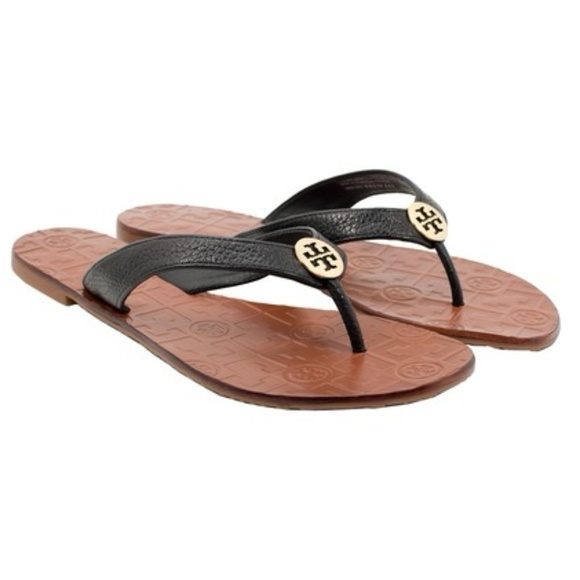 7967ea952b87 Tory Burch Black   Gold Thora Thong Sandals